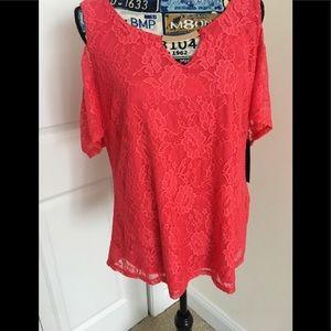 Tops - Beautiful  coral color cold shoulder top